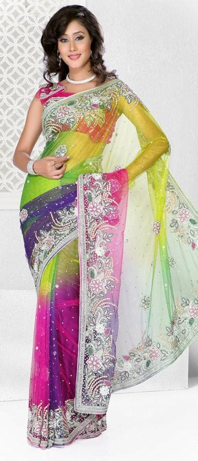 hairstyles in net saree 333 75 multi color diamond and crystal work net party