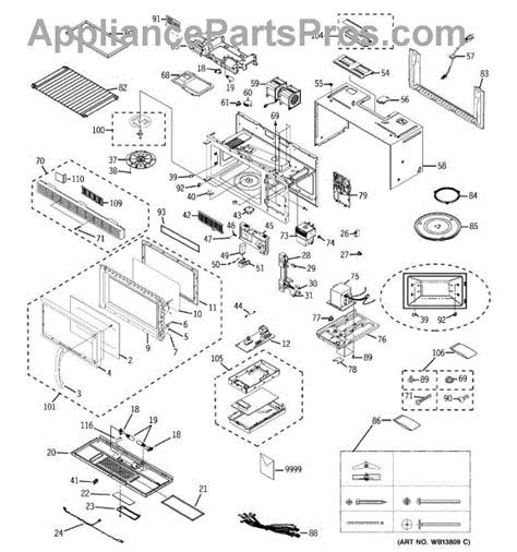 ge spacemaker microwave parts diagram ge wb27x10871 smart board appliancepartspros