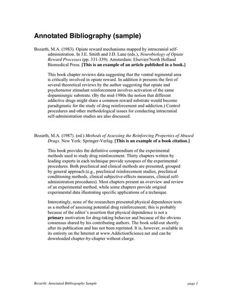Annotated Bibliography Exle Annotated Bibliography Template