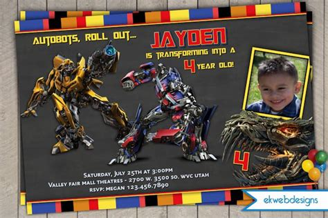 transformer invitation template transformers 4 personalized photo birthday invitations