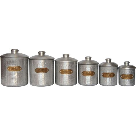 Kitchen Canisters French | complete set of six french vintage aluminum kitchen