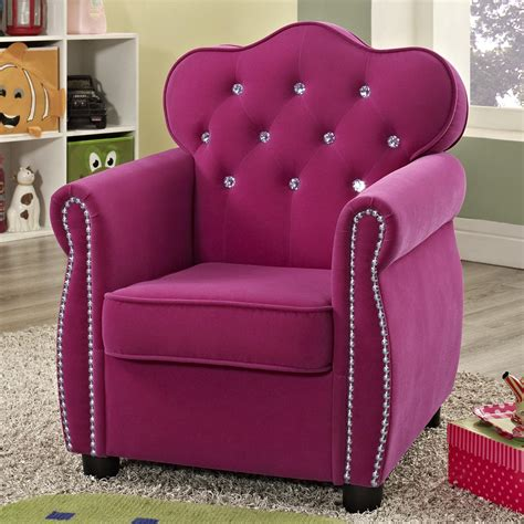 Pink Kids Armchair Crown Mark Amelia 7009 Contemporary Pink Kids Chair With