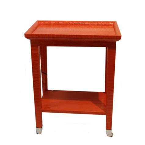 orange accent tables orange faux snakeskin phone table on casters side tables