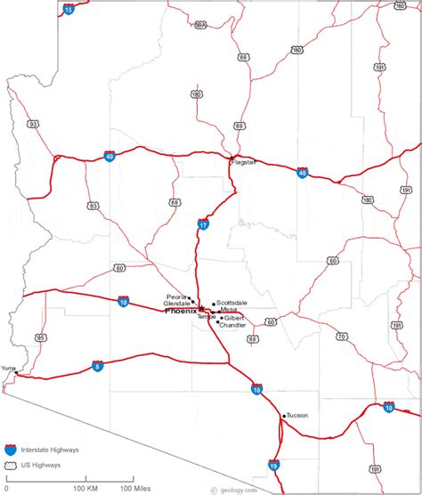 arizona county map with roads map of arizona