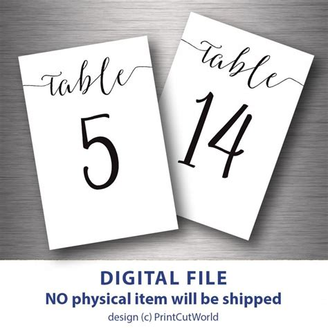 wedding table number printable 4x6 instant by table numbers printable 4x6 classic wedding table number 1