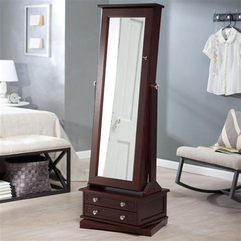 floor jewelry armoire with mirror belham living swivel cheval jewelry armoire cherry floor mirrors at hayneedle