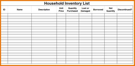 inventory list templates moving inventory list or home inventory template for your