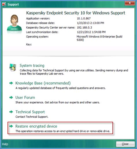 kaspersky reset database how to use encrypted device restore utility to decrypt an