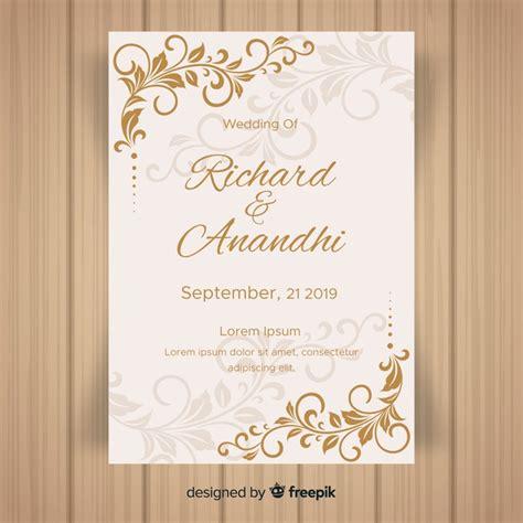 leaf ornaments wedding invitation template vector