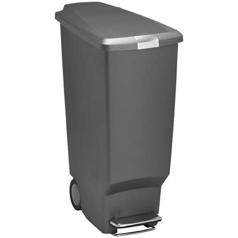 Slim Kitchen Trash Can by Simplehuman Grey 10 Gal Slim Plastic Step Trash Can The