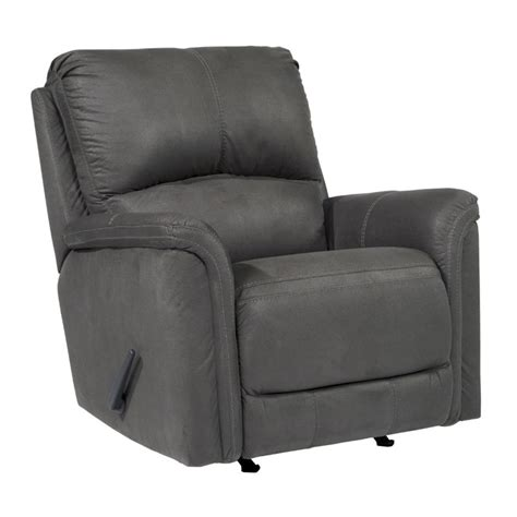 Grey Leather Rocker Recliner Ranika Faux Leather Rocker Recliner In Gray 9021225