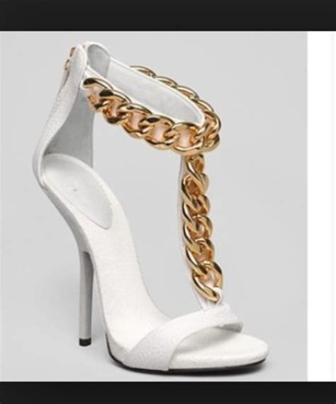 shoes white high heels high heels white gold chain