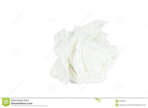 Save Tissue crumpled tissue paper isolated white background stock
