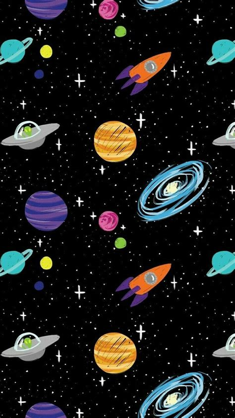 space cartoon aliens rocket ships planets galaxy iphone