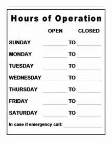 store hours sign template free hours of operation sign images frompo