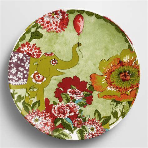 mosaic pattern dishes citron nomad elephant plates set of 4 world market