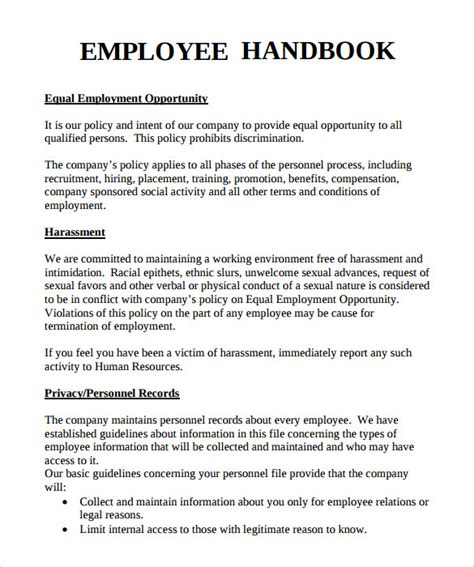 handbook template sle employee handbook 9 documents in pdf