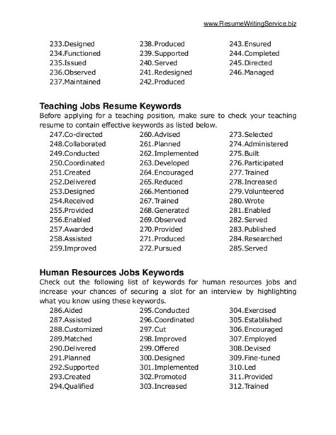 Key Resume Buzzwords Resume Key Phrases List