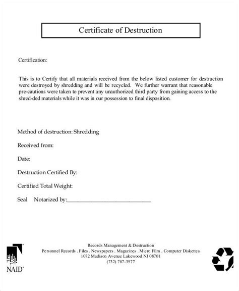 certificate of disposal template certificate of templates 10 free pdf format