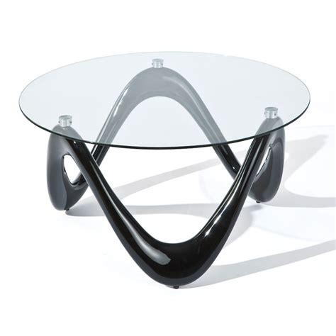 Table Basse Ronde Valentine Noir Verre 80 Cm 20801370