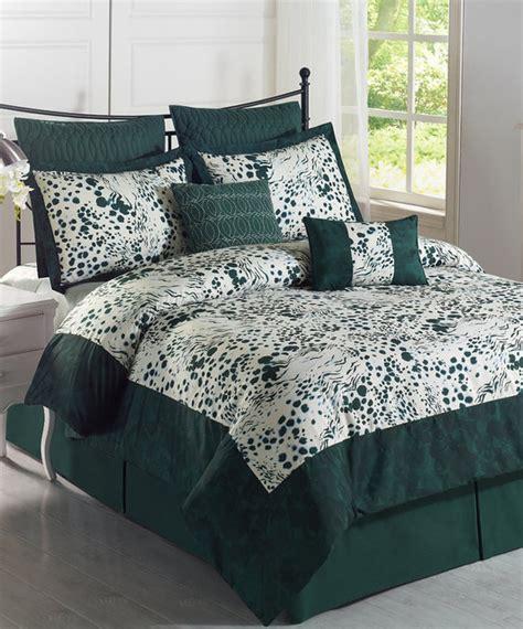 hunter green white splash comforter set modern