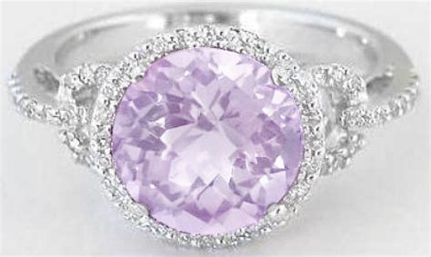 Light Purple Amethyst And Ring In 14k White Gold