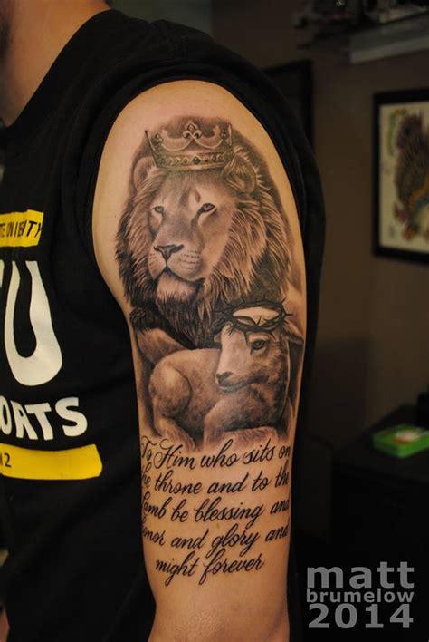 lion and lamb tattoo lucky draw tattoos 187 lion lamb lettering tattoo matt brumelow