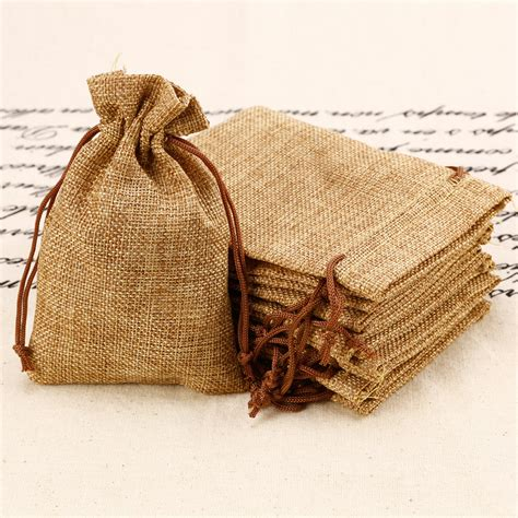10 x mini hessian burlap favor bags wedding rustic burlap