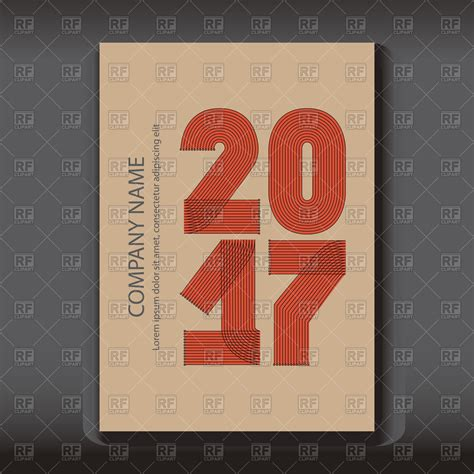 Calendar Cover Cover Of Calendar 2017 With Striped Numbers Vector