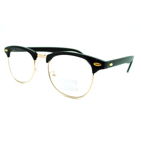 Club Tin Glasses eyeglass frame club half horn rimmed glasses unisex new black gold metal ebay