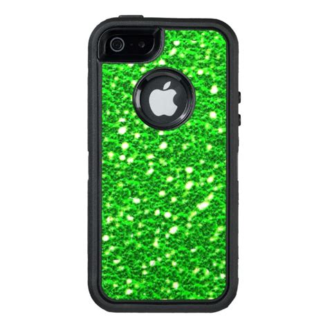 lime green sparkly faux glitter  texture otterbox defender iphone case case