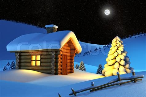 Country Cabin Plans christmas house and fir tree in snow drift mountain