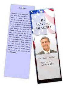 funeral program templates memorial bookmark patriotic