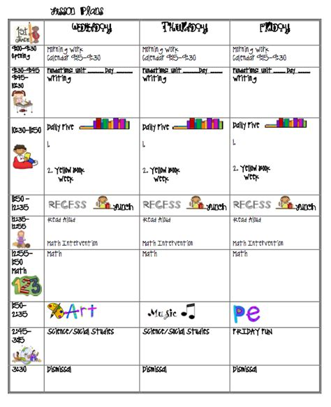 printable lesson plan for 1st grade printable lesson plan calendar 187 calendar template 2018
