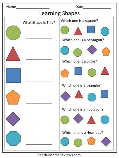 Toddler Learning Worksheets by Learning Shapes Worksheet