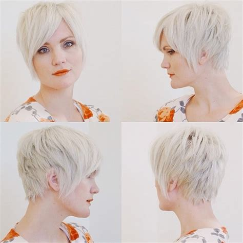 short haircut  women textured side parting hairstyle