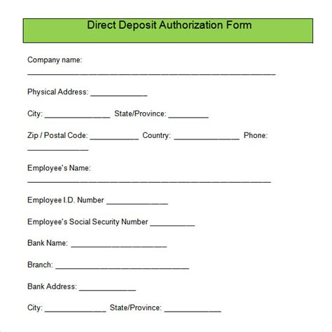 Payroll Direct Deposit Authorization Form Template direct deposit authorization form free for pdf