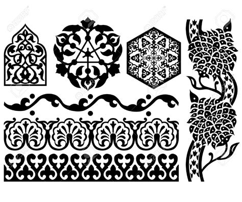 islamic pattern clipart vector clipart islamic pencil and in color vector