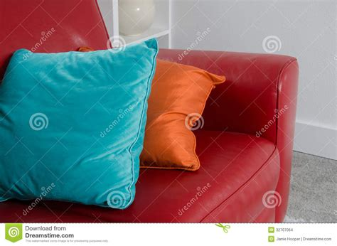 pillows for red couch red sofa and pillows stock images image 32707064