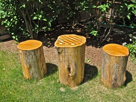 tables made from tree stumps 20 best images about garden chess boards on