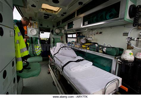 ambulance bed ambulance inside uk stock photos ambulance inside uk