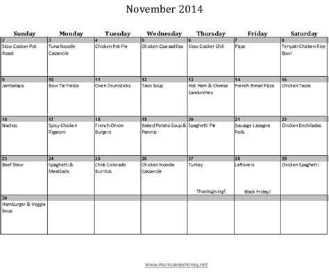 planner for november 2014 printable november monthly meal plan with calendar recipes mom