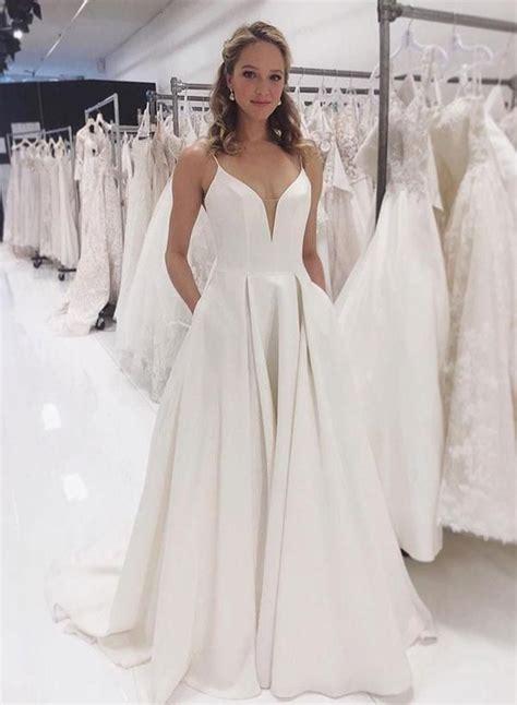 simple  neck satin long prom dress white evening dress