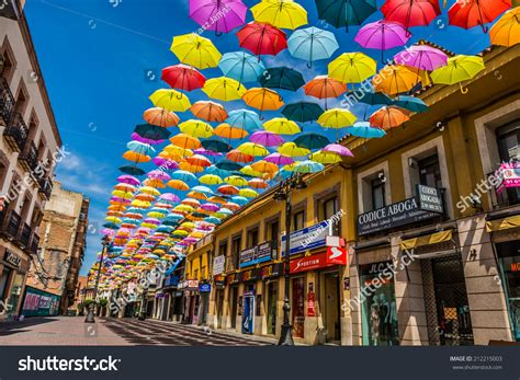 Madrid Spain Search Madrid Spain 25 July 2014 Decorated With Colored Umbrellas Stock Photo