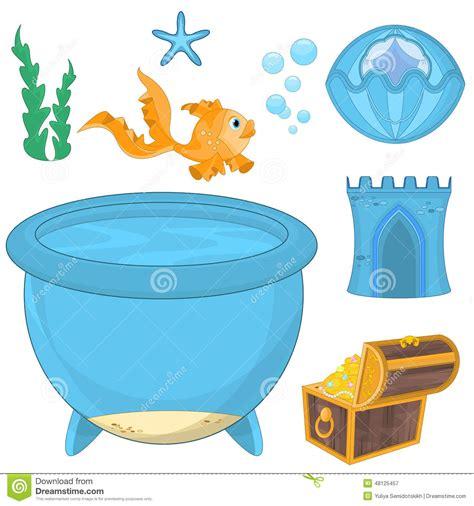 aquarium design eps set of cartoon fish elements for aquarium decoration