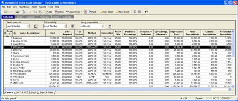fixed asset schedule template professional accounting software intuit quickbooks