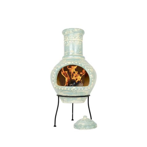 large clay chiminea large blue clay chiminea by garden leisure