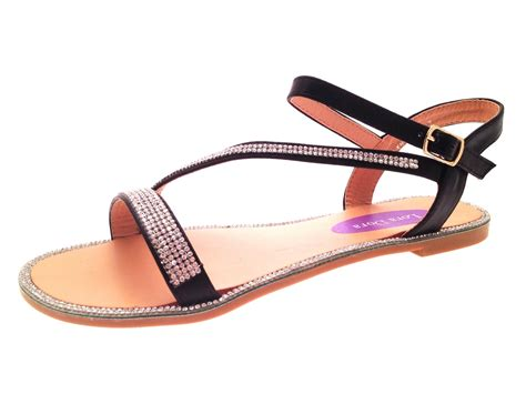 Flatshoes Vasco 8 womens flat diamante summer sandals strappy evening shoes size 3 8 ebay