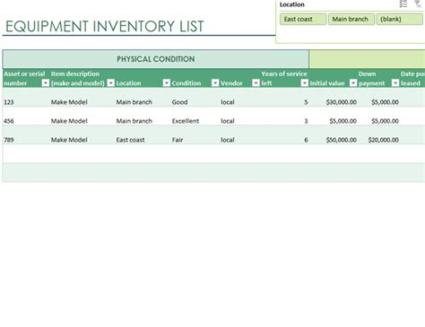 computer equipment inventory template equipment inventory list