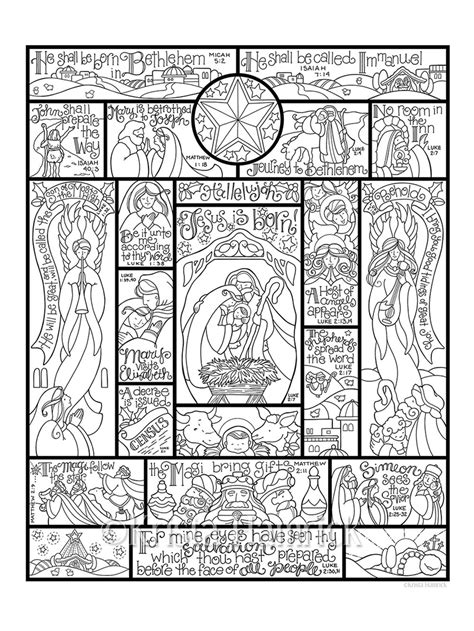 Nativity Coloring Pages For Adults Story Of The Nativity Coloring Page In Three Sizes 8 5x11 by Nativity Coloring Pages For Adults